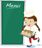 A Serving Girl. Illustration of a serving girl on white background Royalty Free Stock Photos
