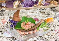 Serving of gourmet shrimps Royalty Free Stock Images