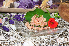Serving of gourmet shrimps with herbs Royalty Free Stock Images