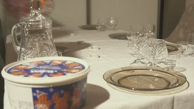 Serving a holiday table at home. Hd stock video