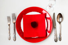 Serving holiday table, spoon, fork, knife, white plates Stock Photography