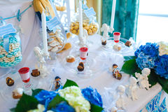 Serving holiday table with white and blue colors Royalty Free Stock Photo
