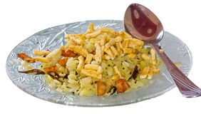 Serving of Indian Snacks Poha with Sev Royalty Free Stock Image