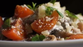 Serving of Italian pasta with sauce, cheese and basil. Video. Horizontal stock footage