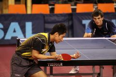 Serving Kaii Yoshida - table tennis Royalty Free Stock Photo