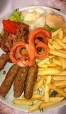 Kebabs with French Fries Royalty Free Stock Images
