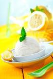 Serving of lemon sorbet icecream Stock Images