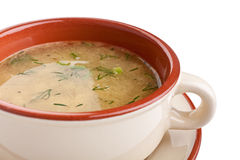 Serving of Lentil and Chicken Clear Soup Stock Photos