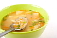 Serving of lentil chicken soup Royalty Free Stock Photo