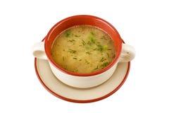 Serving of lentil chicken soup Stock Photo