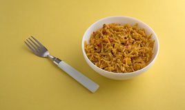 Serving of Mexican rice with a fork Stock Photos