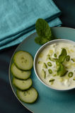 Serving of Mint and Cucumber Raita Dip Royalty Free Stock Photography