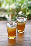 Serving mugicha , cold barley tea stock photo