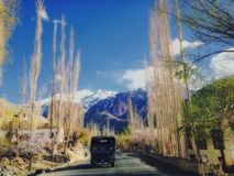 Serving nation. An army truck heading towards china border through nubra valley, ladakh Stock Photo