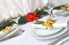 Serving New Year or Christmas table Stock Photos