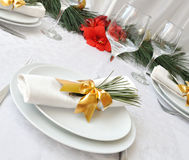Serving New Year or Christmas table Stock Photo