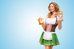 Serving at Oktoberfest. Royalty Free Stock Image