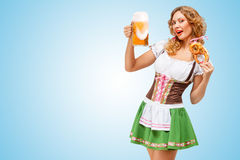 Serving at Oktoberfest. Royalty Free Stock Photography