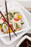 Serving of oriental warm noodle chicken salad. With wooden chopsticks Stock Photography