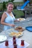 Serving Ottoman Style Desserts Stock Photos