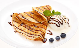 Serving pancakes on the plate. Stock Photography