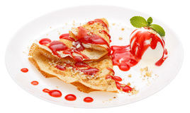 Serving pancakes on the plate. Stock Images