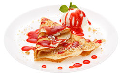 Serving pancakes on the plate. Stock Photos