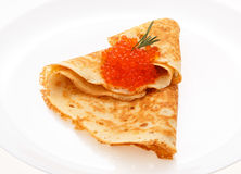 Serving pancakes on the plate. Royalty Free Stock Images