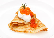 Serving pancakes on the plate. Royalty Free Stock Photography