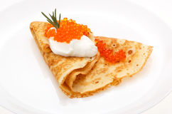 Serving pancakes on the plate. Stock Photo