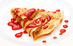 Serving pancakes on the plate. Stock Image