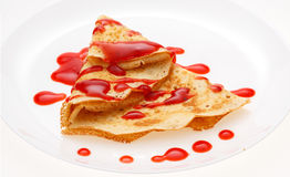 Serving pancakes on the plate. Royalty Free Stock Photo