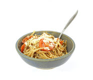 Serving Pasta and Spoon Royalty Free Stock Photography