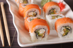 Serving Philadelphia rolls with wasabi and ginger macro. horizon Stock Images