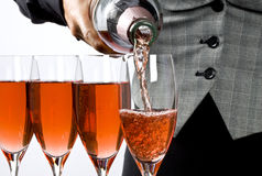 Serving Pink Champagne Royalty Free Stock Photo