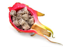 Serving Pitaya in its own shell. Royalty Free Stock Image