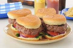 Serving platter of thick burgers Stock Image