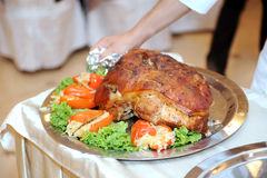Serving Pork with Pepper Royalty Free Stock Photos