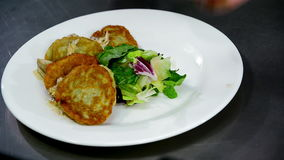 Serving of potato pancakes on a plate stock video footage