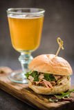 Serving pub food, pork bap with cider Royalty Free Stock Photo