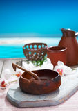 Serving refreshments in handcrafted pottery Stock Image
