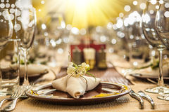 Serving of restaurant table close up Stock Image