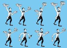 Serving restaurant waiter illustrations Royalty Free Stock Images