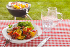 Serving of roast vegetables on a summer picnic royalty free stock image