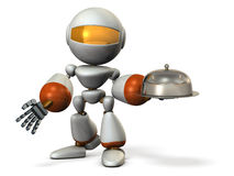 Serving robot. Cloche in its hand. Stock Image