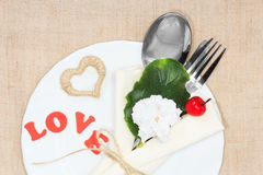 Serving romantic holiday table Royalty Free Stock Images