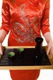 Serving sake stock photo