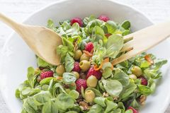 Serving salad of canons, raspberries, raisins, olives, nuts, carrots and pips. Salad of canons, raspberries, raisins, olives, nuts, carrots and pips. Wooden Royalty Free Stock Images