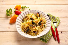 Serving size of pasta with mussels Stock Image