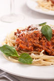 Serving of Spaghetti Bolognese Royalty Free Stock Photo
